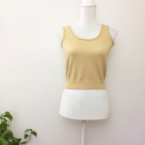 St. John Gold Metallic Lurex Sweater Knit Tank Top